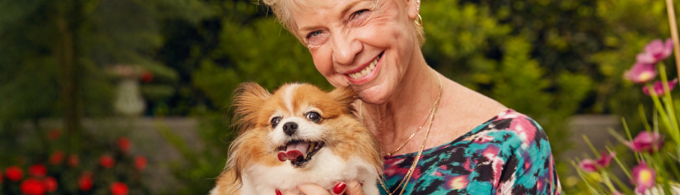 happy dog owner